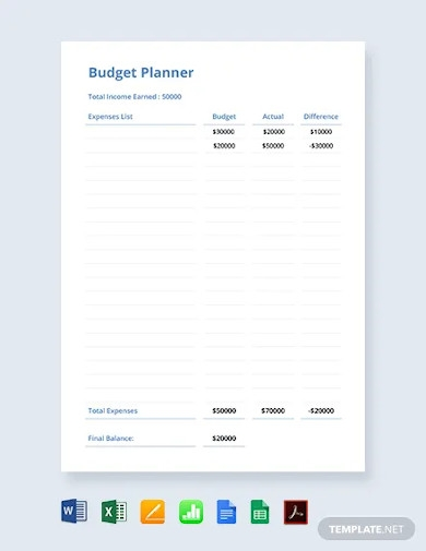 free simple budget planner template