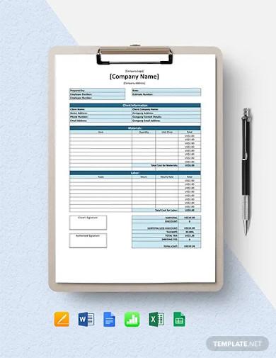 free simple software estimate template