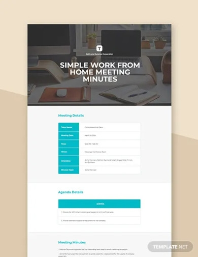 free simple work from home meeting minutes template
