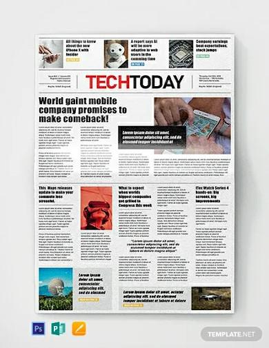 free technology newspaper template