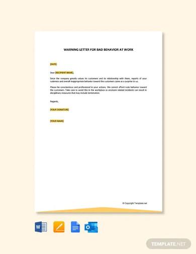 free warning letter for bad behavior at work