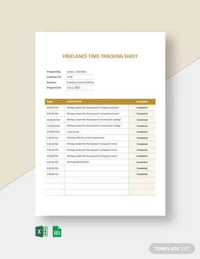 freelance time tracking sheet template