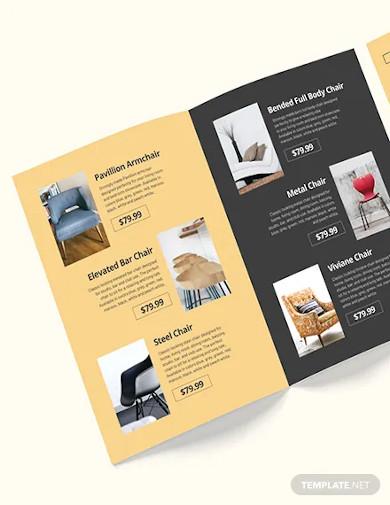 furniture company bi fold brochure template