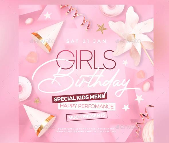 girls birthday flyer