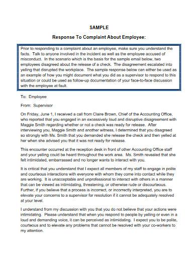 hr complaint response letter