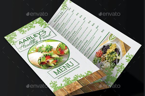 healthy food menu trifold brochure example