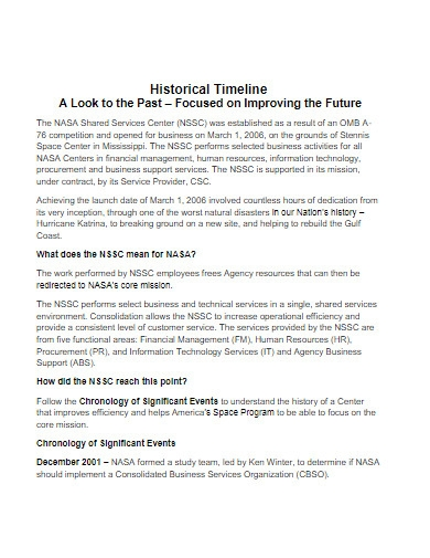 historical timeline example