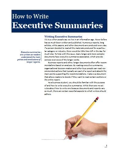 how to write executive summaries