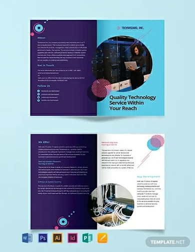 it company bi fold brochure template