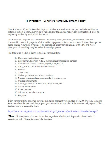 it inventory equipment policy