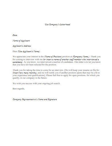 job applicant rejection letter in pdf