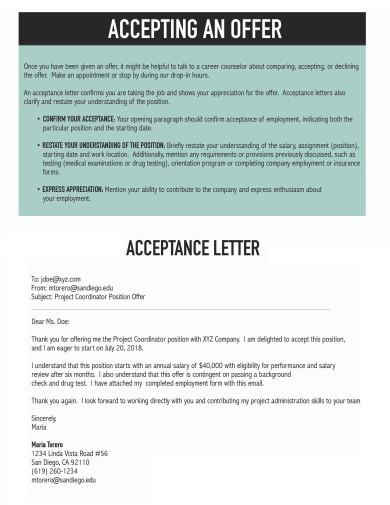 job offer acceptance letter template
