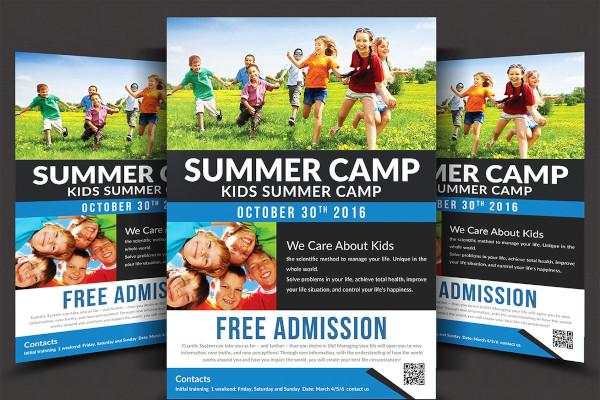 kids summer camp flyer in psd