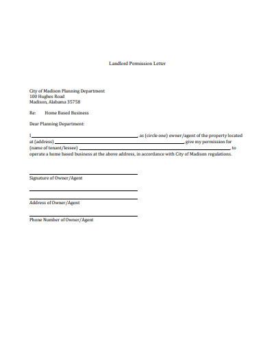 landlord permission letter