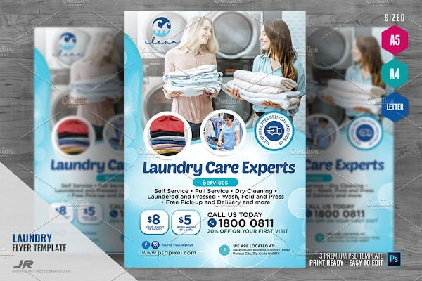 laundry commercial washing flyer