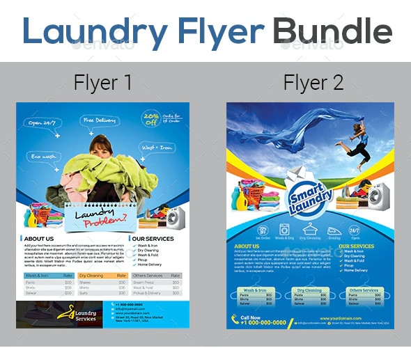 laundry services flyers template