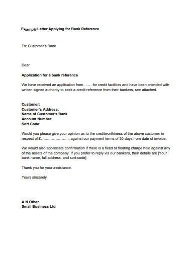 letter applying for bank reference
