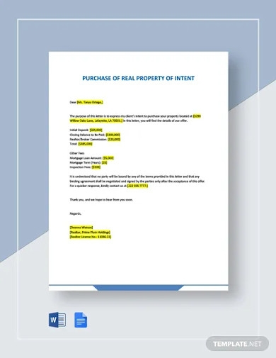 letter of intent for purchase of real property template