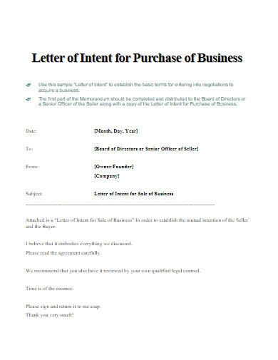 letter of intent for purchase of business