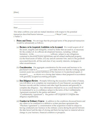 letter of intent to purchase business example