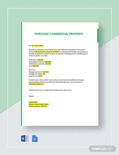letter of intent to purchase commercial property template