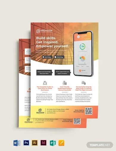 mobile apps double sided flyer template