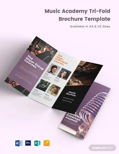 music academy tri fold brochure template