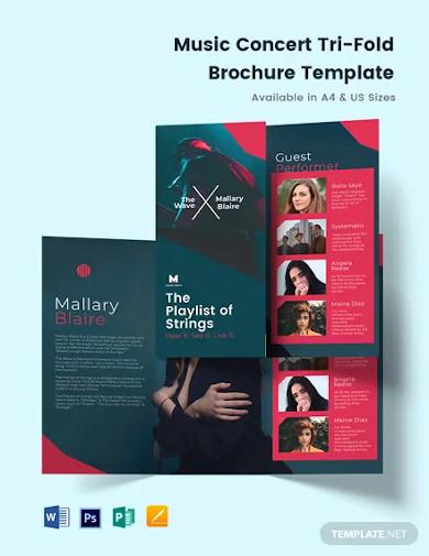 music concert tri fold brochure template