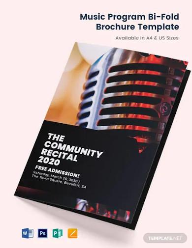 music program bi fold brochure template