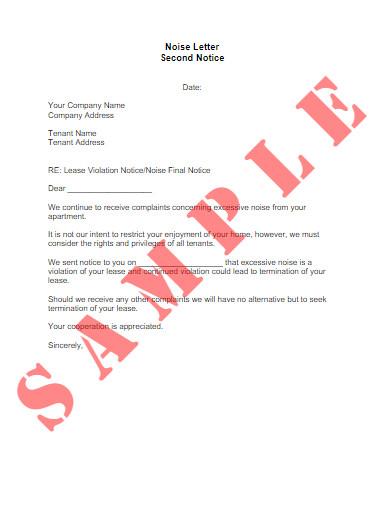 noise tenant warning letter