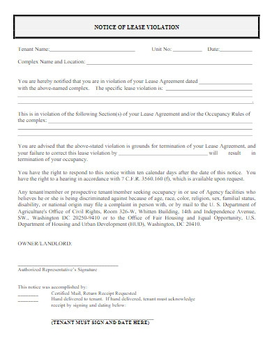 notice of lease violation tenant warning letter