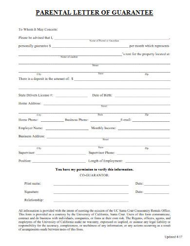 parental letter of guarantee