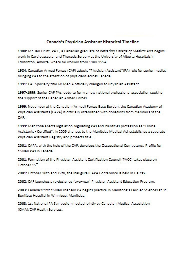 physician assistant historical timeline