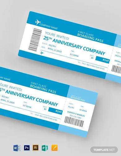 plane boarding pass invitation template