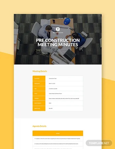 pre construction meeting minutes template