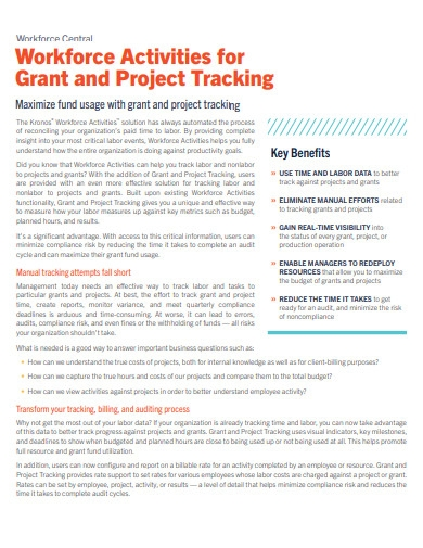 project activites tracking