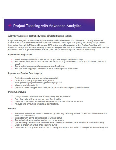 project tracking with advanced analytics