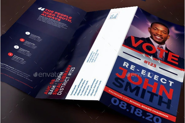 re election political tri fold brochure template