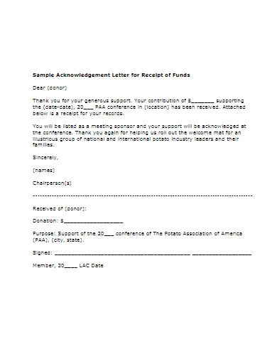 sample acknowledgement letter for donations