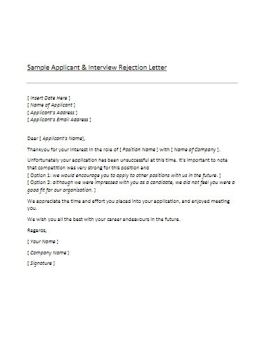 sample applicant interview rejection letter