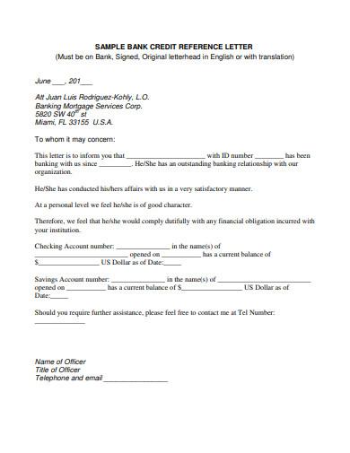 sample bank credit reference letter