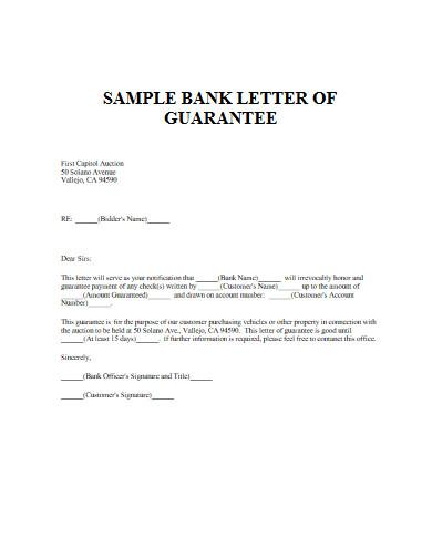 sample bank letter of guarantee