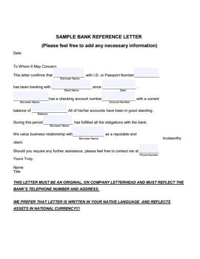 sample bank reference letter in pdf