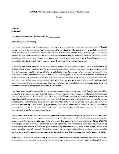 sample behavior warning letter