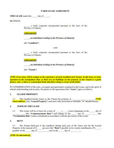 sample farm lease agreement