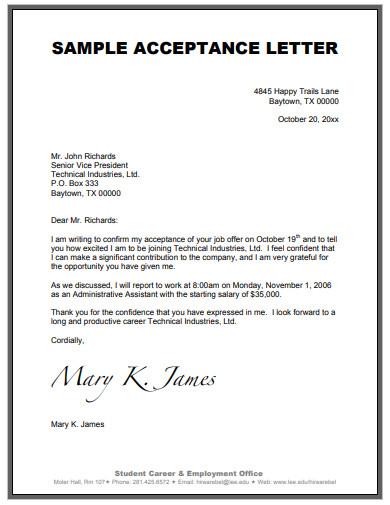 sample job acceptance letter