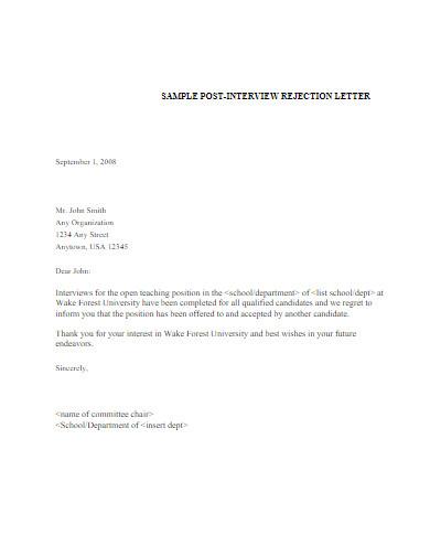 sample post interview job rejection letter