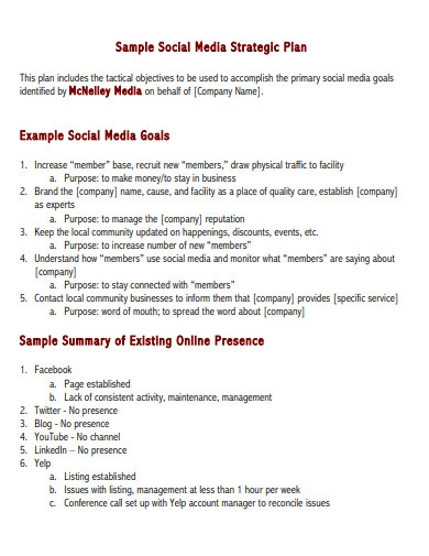 sample social media strategic plan