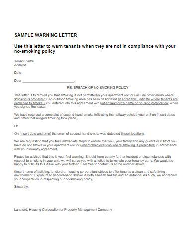 sample tenant warning letter
