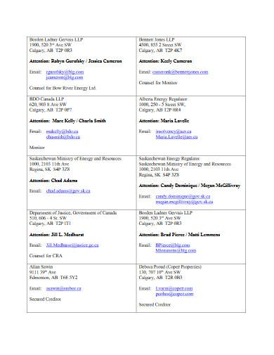 service list example